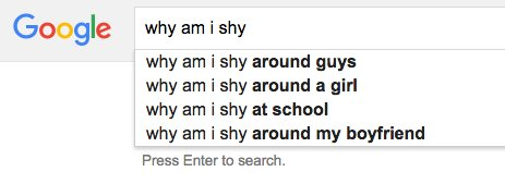 why am i shy google