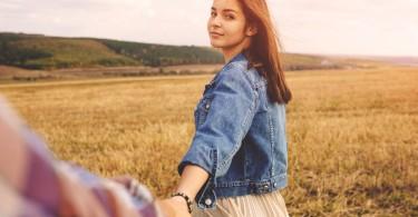 cute girlfriend in field