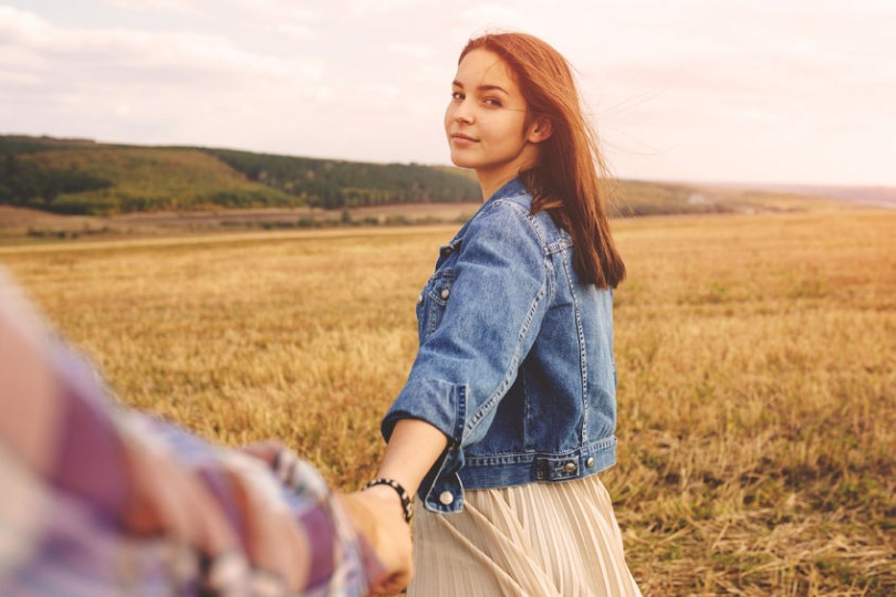 cute girlfriend in field